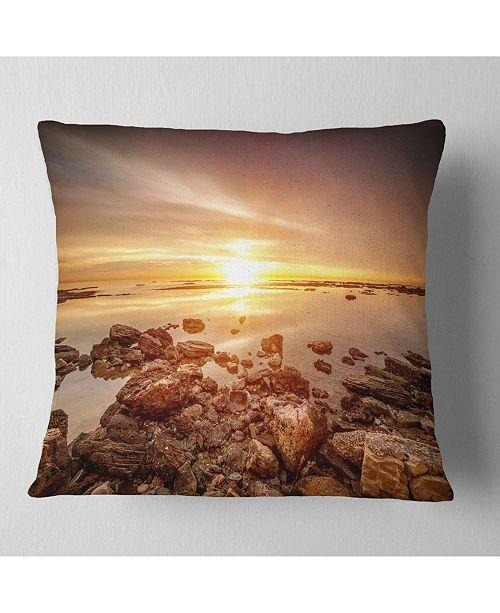 "Design Art Designart Beautiful Sunset Over Rocky Beach Seashore Throw Pillow - 16"" X 16"""