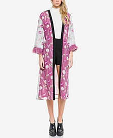 Mixed Print with Feather Sleeve Kimono