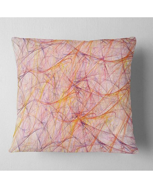 "Design Art Designart Mystic Pink Fractal Veins Abstract Throw Pillow - 16"" X 16"""