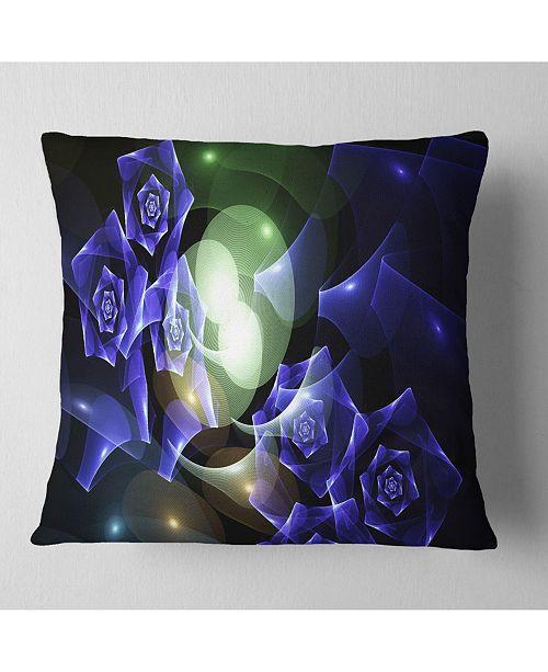 """Design Art Designart Blue Bouquet Of Beautiful Roses Abstract Throw Pillow - 18"""" X 18"""""""