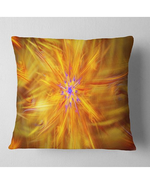 "Design Art Designart Glowing Brightest Star Exotic Flower Abstract Throw Pillow - 18"" X 18"""