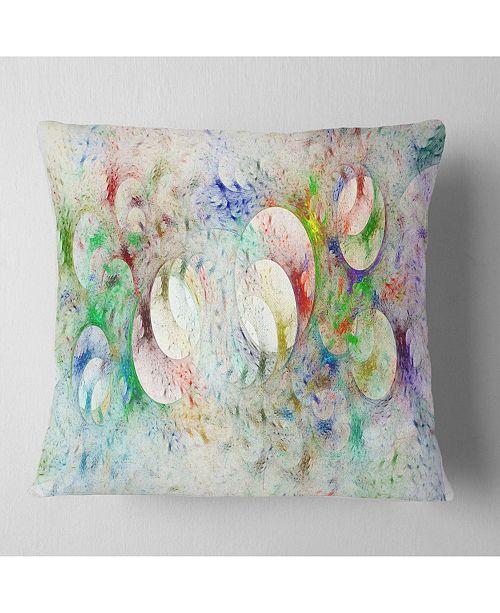 "Design Art Designart White Fractal Ornamental Glass Abstract Throw Pillow - 18"" X 18"""