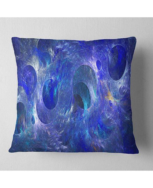 """Design Art Designart Clear Blue Fractal Glass Texture Abstract Throw Pillow - 18"""" X 18"""""""