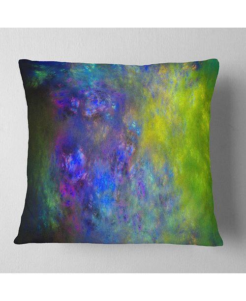 """Design Art Designart Blue Green Starry Fractal Sky Abstract Throw Pillow - 18"""" X 18"""""""