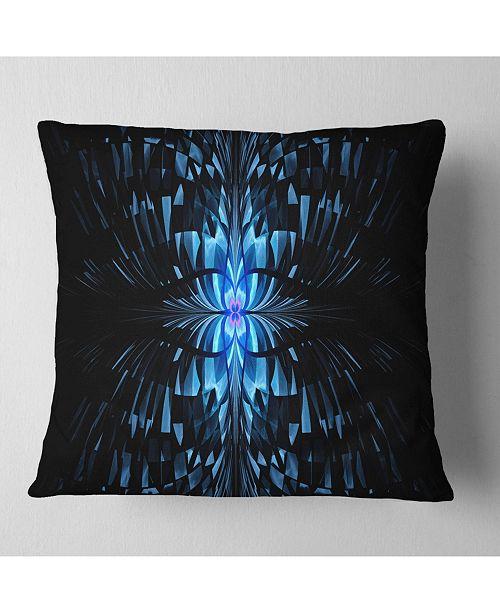 """Design Art Designart Blue Butterfly Pattern On Black Abstract Throw Pillow - 16"""" X 16"""""""