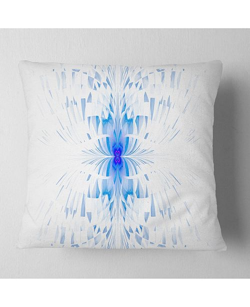 "Design Art Designart Blue Butterfly Outline On White Abstract Throw Pillow - 16"" X 16"""