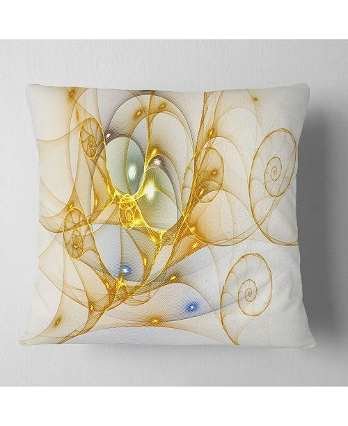 "Design Art Designart Golden Colored Curly Spiral Abstract Throw Pillow - 16"" X 16"""