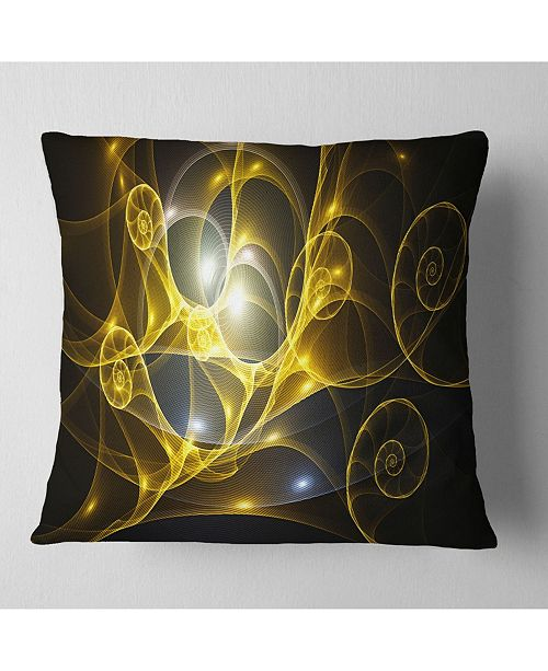 "Design Art Designart Golden Curly Spiral On Black Abstract Throw Pillow - 18"" X 18"""