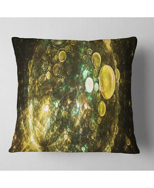 "Design Art Designart Yellow Spherical Planet Bubbles Abstract Throw Pillow - 16"" X 16"""