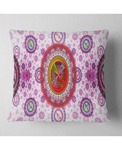 "Design Art Designart Pink Psychedelic Relaxing Art Abstract Throw Pillow - 16"" X 16"""