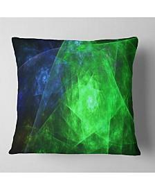 "Designart Green Rotating Polyhedron Abstract Throw Pillow - 26"" X 26"""