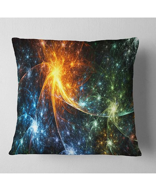 """Design Art Designart Colorful Fireworks With Stars Abstract Throw Pillow - 16"""" X 16"""""""