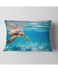 "Designart Large Hawksbill Sea Turtle Abstract Throw Pillow - 12"" X 20"""