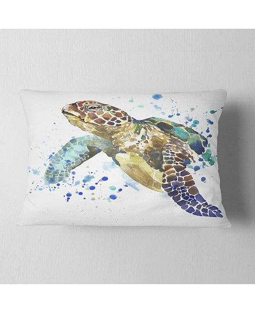 "Design Art Designart Blue Sea Turtle Illustration Animal Throw Pillow - 12"" X 20"""