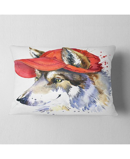 "Design Art Designart Wolf With Red Cap Illustration Animal Throw Pillow - 12"" X 20"""