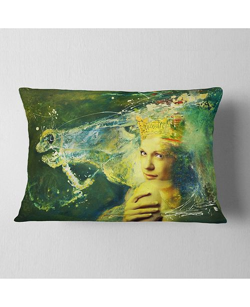 "Design Art Designart Thoroughbred Horse And Woman Animal Throw Pillow - 12"" X 20"""