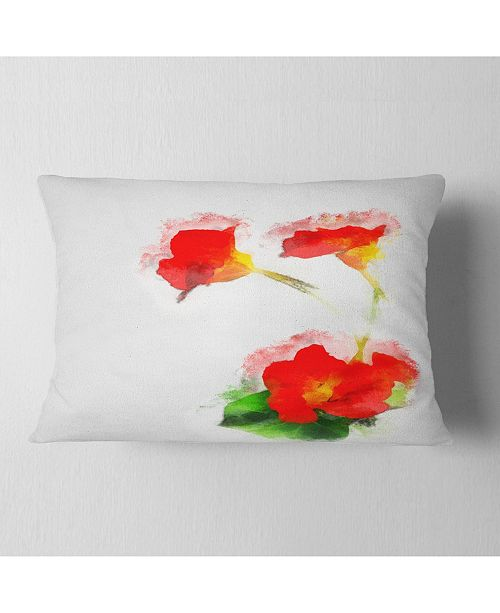 "Design Art Designart Red Gentiana Alpina Watercolor Floral Throw Pillow - 12"" X 20"""