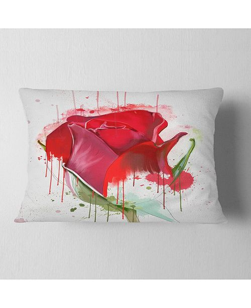 "Design Art Designart Colorful Red Rose Sketch Watercolor Floral Throw Pillow - 12"" X 20"""