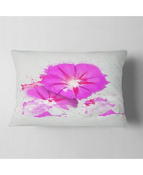 "Design Art Designart Pink Flowers Sketch With Color Splashes Floral Throw Pillow - 12"" X 20"""