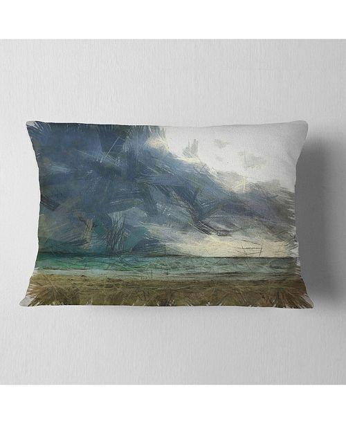 "Design Art Designart Sea Before Storm Watercolor Landscape Printed Throw Pillow - 12"" X 20"""
