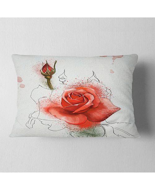 "Design Art Designart Red Watercolor Rose Sketch Floral Throw Pillow - 12"" X 20"""