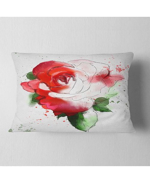"Design Art Designart Red Hand Drawn Rose Illustration Floral Throw Pillow - 12"" X 20"""
