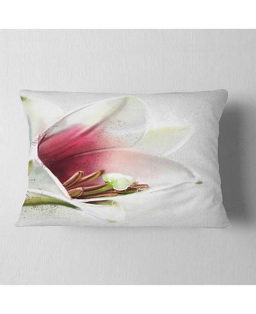 """Design Art Designart Beautiful Lily Flower Watercolor Flowers Throw Pillowwork - 12"""" X 20"""""""