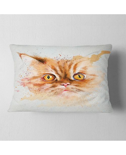 """Design Art Designart Serious Cat Face Watercolor Sketch Animal Throw Pillow - 12"""" X 20"""""""