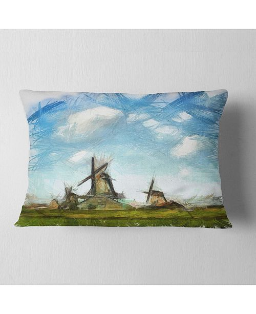 "Design Art Designart Watercolor Windmill In Netherlands Landscape Printed Throw Pillow - 12"" X 20"""