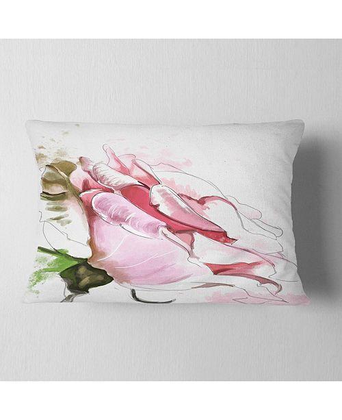 "Design Art Designart Pink Rose Illustration On White Floral Throw Pillow - 12"" X 20"""