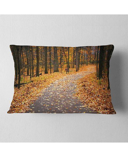 """Design Art Designart Autumn Walk Way With Fallen Leaves Modern Forest Throw Pillow - 12"""" X 20"""""""