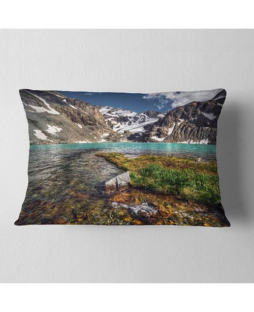 """Design Art Designart Crystal Clear Creek In Mountains Landscape Printed Throw Pillow - 12"""" X 20"""""""