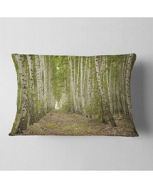 "Design Art Designart Dense Birch Grove In Summer Day Forest Throw Pillow - 12"" X 20"""