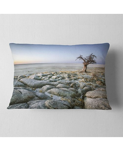 "Design Art Designart Baobab Tree On Rocky Terrain Landscape Printed Throw Pillow - 12"" X 20"""