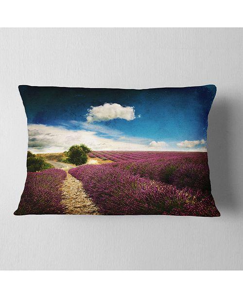 "Design Art Designart Lavender Field With Dramatic Blue Sky Landscape Printed Throw Pillow - 12"" X 20"""