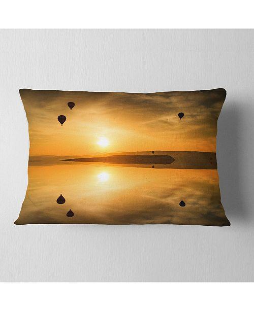 "Design Art Designart Flying Balloons And Reflection Seashore Throw Pillow - 12"" X 20"""