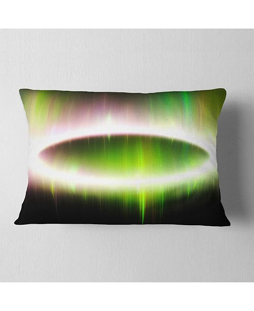 """Design Art Designart Beautiful Green Northern Lights Abstract Throw Pillow - 12"""" X 20"""""""