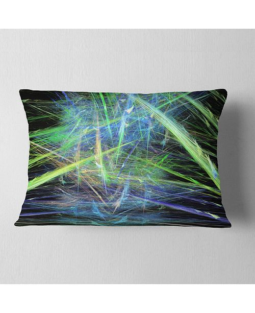 "Design Art Designart Green Blue Magical Fractal Pattern Abstract Throw Pillow - 12"" X 20"""