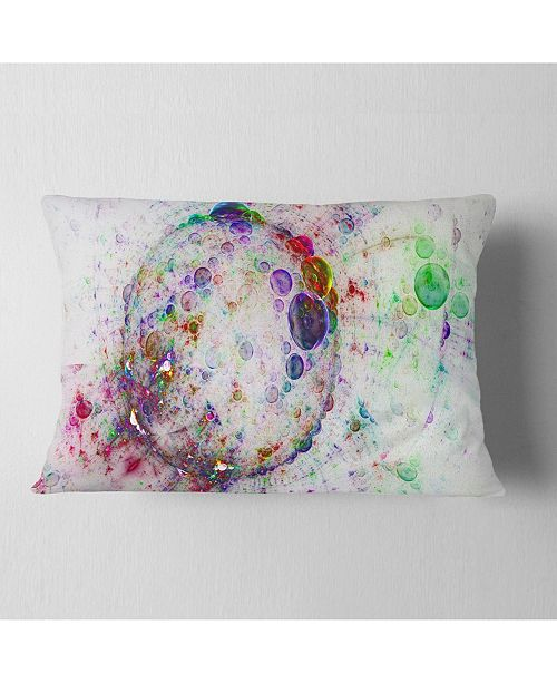 "Design Art Designart Colorful Spherical Planet Bubbles Abstract Throw Pillow - 12"" X 20"""