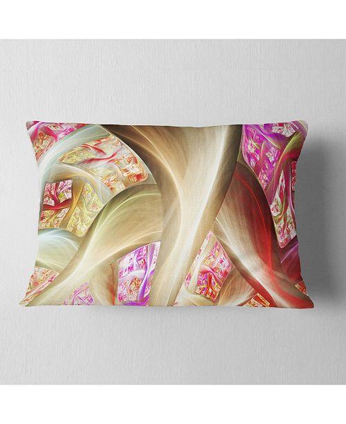 """Design Art Designart Golden Red Fractal Plant Stems Abstract Throw Pillow - 12"""" X 20"""""""