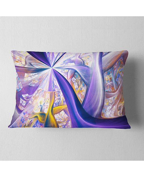 "Design Art Designart Purple Gold Fractal Plant Stems Abstract Throw Pillow - 12"" X 20"""