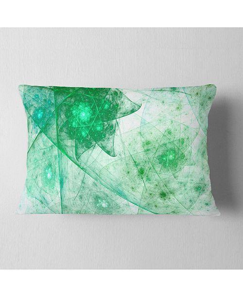 "Design Art Designart Clear Green Rotating Polyhedron Abstract Throw Pillow - 12"" X 20"""