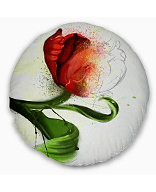"""Designart Big Red Flower With Green Leaves Floral Throw Pillow - 16"""" Round"""