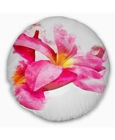 "Designart Beautiful Flowers With Big Pink Petals Floral Throw Pillow - 16"" Round"