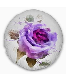 "Designart Watercolor Purple Rose With Leaves Floral Throw Pillow - 16"" Round"