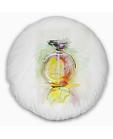 "Designart Perfume Bottle Watercolor Animal Throw Pillow - 16"" Round"