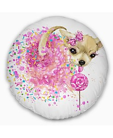 "Designart Sweet Pink Dog Without Glasses Animal Throw Pillow - 20"" Round"