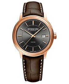 Men's Swiss Automatic Maestro Brown Leather Strap Watch 40mm
