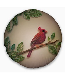 "Designart Red Paper Quilling Of Cardinal Bird Floral Throw Pillow - 20"" Round"
