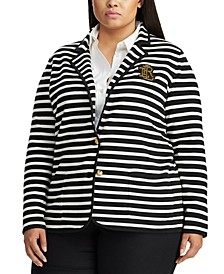 Plus Size Stripe-Print Stretch Sweater Blazer